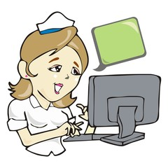 nurse with computer, health care network vector