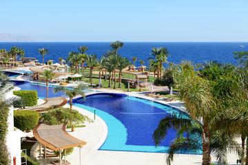 The beach and swimming pool at luxury hotel, Sharm el Sheikh, Eg