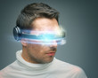 man with digital glasses