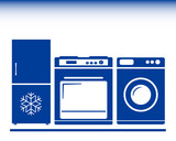 gas stove, refrigerator, washing machine