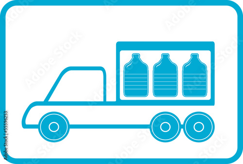 lorry with plastic bottles - water delivery symbol