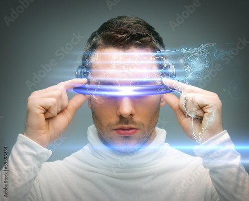 canvas print picture man with digital glasses
