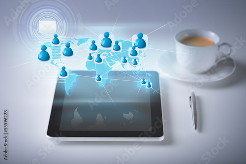 tablet pc with contact icons