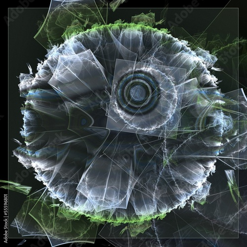 Fractal background with transparent squares and veils