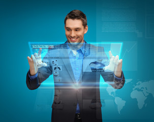 businessman with virtual screen