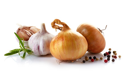 onions and garlic on a white background