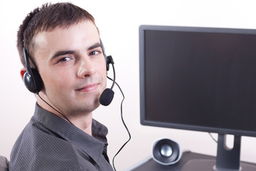 Call center, Customer service operator working on computer.