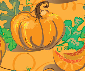 Seamless background with pumpkins and leafs
