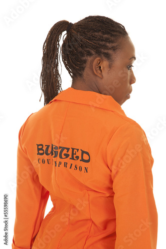 woman prisoner orange back busted