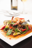 Thai stir fried seafood with tom yum sauce.