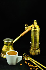 traditional set for turkish and greek coffee