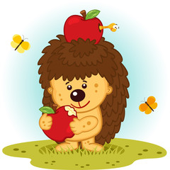 Hedgehog with apples- vector illustration