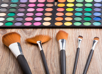 Makeup brushes and eye shadows
