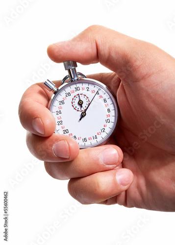 Leinwanddruck Bild Hand with a stopwatch.