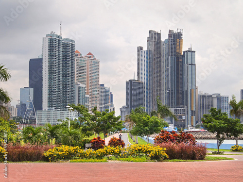 Panama City skyscraper and flowers