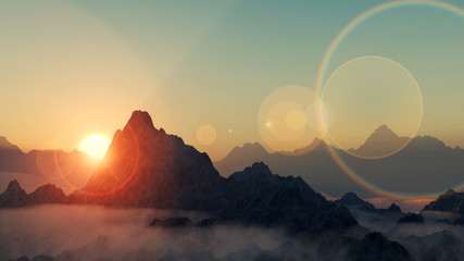 Gebirge im Sonnenuntergang