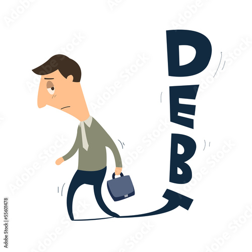 Unhappy businessman following by debt
