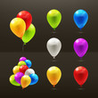 Toy balloons, set of vector icons on black