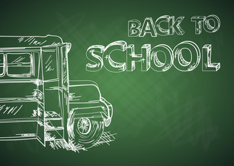 Back to school bus education chalkboard sketch EPS10 file.