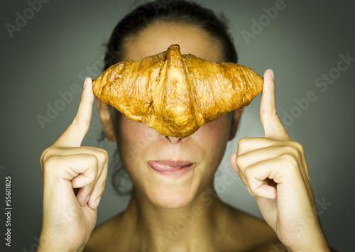 canvas print picture Frau mit Croissant