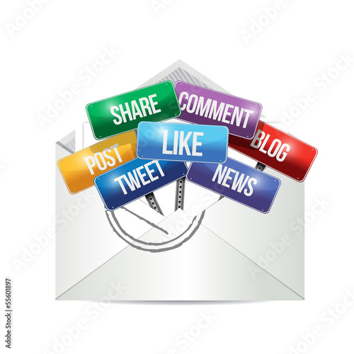 envelope with social media signs illustration