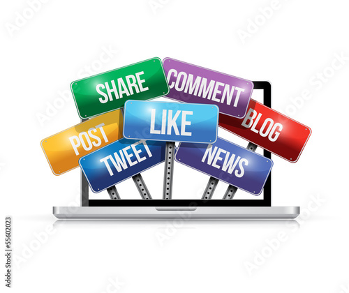 laptop with social media signs illustration