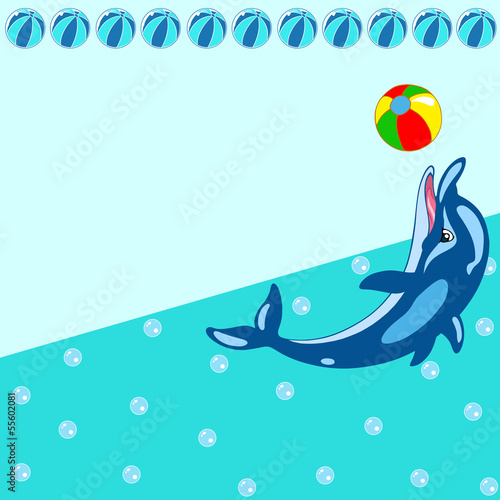 Fotobehang Dolfijnen Pattern with cartoon dolphin