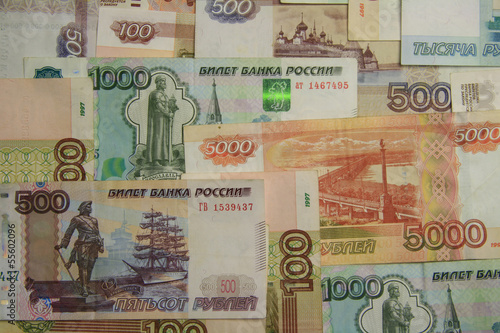 the Russian ruble coarsely