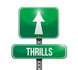 thrills road sign illustration design poster