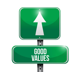 good values road sign illustration