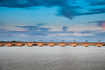 Famous bridge Pont de Pierre, Bordeaux, Aquitaine, France