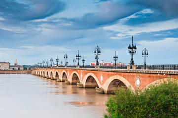 Saint Pierre bridge crossing Garonne river at Bordeaux, France