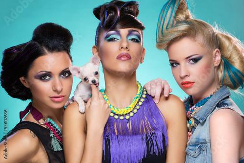 Three girls with chihuahua