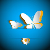 Gift card with paper flower and two butterflies
