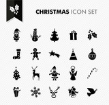 Merry Christmas black icons set.