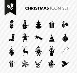 Merry Christmas black icons set.
