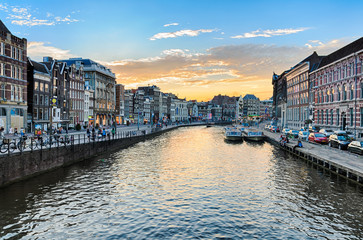 Canals of Amsterdam at sunset, Netherlands