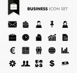 Black isolated business work icon set.