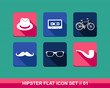 Retro hipsters flat icons set.