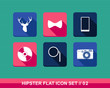 Retro hipsters style flat icons set.