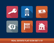 Real estate business flat icons set.