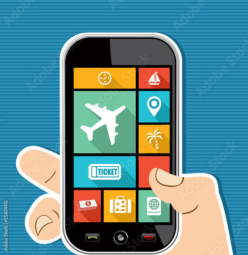 Human hand mobile colorful Travel UI apps flat icons.