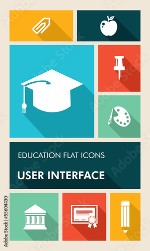 Colorful education UI apps user interface flat icons.