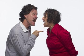 Woman and man quarreling, horizontal
