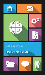 Colorful web apps user interface flat icons.