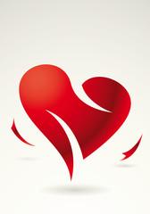 Sfondo cuore rosso spezzato