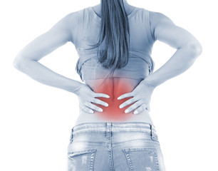 Back pain in young girl in shades of grey