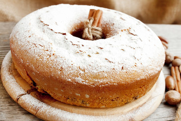 Cake with powdered sugar,ciambellone