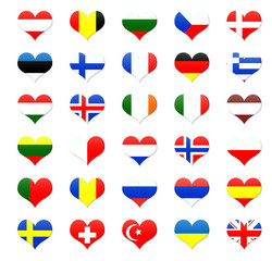 Corazones con banderas de países de Europa