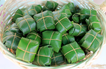 Pickled fish wrapped in banana leaf